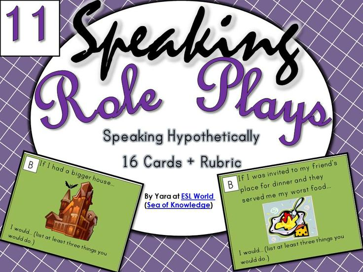 FREE This pack includes speaking role play cards to be used in ESL classes. I love using role plays to encourage ELL learners to speak. They are usually fun and interactive - my students react well to these types of activities. Even the shy ones!  Here is what is included in this pack, speaking cards for: -16 speaking cards for using the conditional tense (If I... I would etc) -16 black and white for printing. + Rubric ESL World