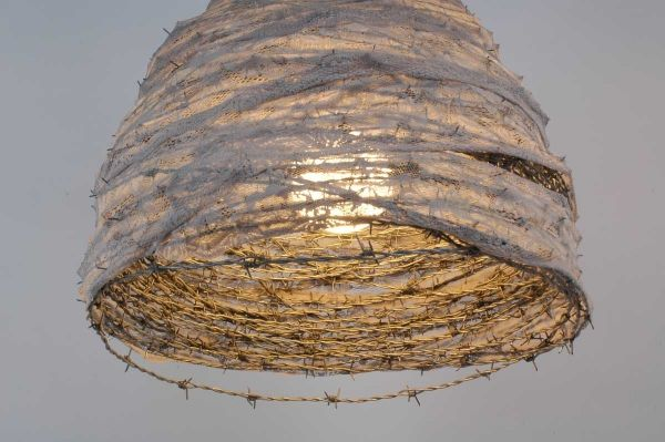 barbed wire & lace pendant light...gorgeous!