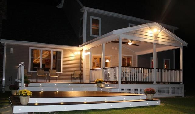 This one is a beauty!  Built by TrexPro Platinum Professional Building Services of Salem, NH, the 750 square foot deck features #Trex Transcend Spiced Rum deck boards with a Vintage Lantern accent border.  We love the Vintage Lantern top and bottom railing with Classic White balusters and posts.  The finishing touch is the Trex Deck Lighting riser lights and post cap lights.