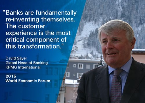 """KPMG @ WEF 2015: """"Banks are fundamentally re-inventing themselves."""" David Sayer, Global Head of Banking, KPMG, at #Davos. #FutureFinance"""