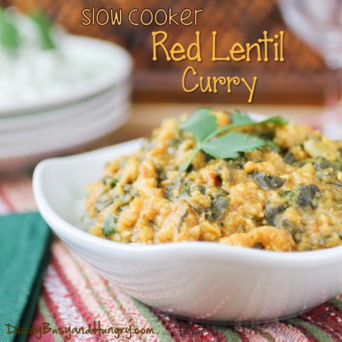 Slow Cooker Red Lentil Curry - This dish is vegan, but that doesn't matter because it's so tasty you will love it for the flavor alone! #crockpot