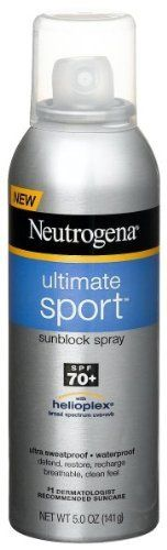 Neutrogena Ultimate Sport Sunblock Spray SPF 70. What can I say - I'm a Scottish red head who didn't get burned once in 3wks in New Zealand sun!!! Love it!