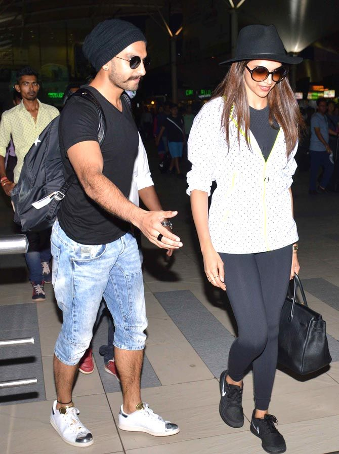 Ranveer Singh and Deepika Padukone at the Mumbai airport. #Bollywood #Fashion #Style #Beauty #Leggings #Hot