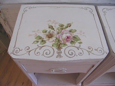 paint furniture with roses & scrolls- the French look  chateaudefleurs.blogspot.com