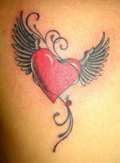 Flying Heart Tattoo...add 2 more ladybugs and something to symbolize husband