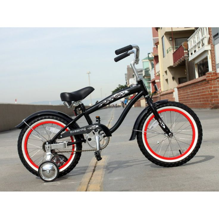 Firmstrong Bruiser Boys 16 in. Single Speed Bicycle with Training Wheels - Black with Red Rims - 15142