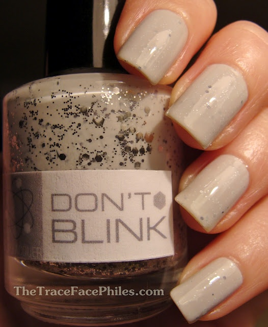 """I rarely wear nail polish, but... NerdLacquer Don't Blink. Seller on Etsy with some nice polishes and fun, creative polishes names based on """"nerd"""" topics like Doctor Who, Hitchhiker's Guide to the Galaxy and Star Wars."""