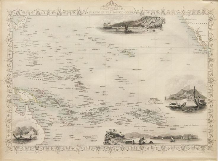 Polynesia or Islands in the Pacific Ocean, Original Map circa 1840s