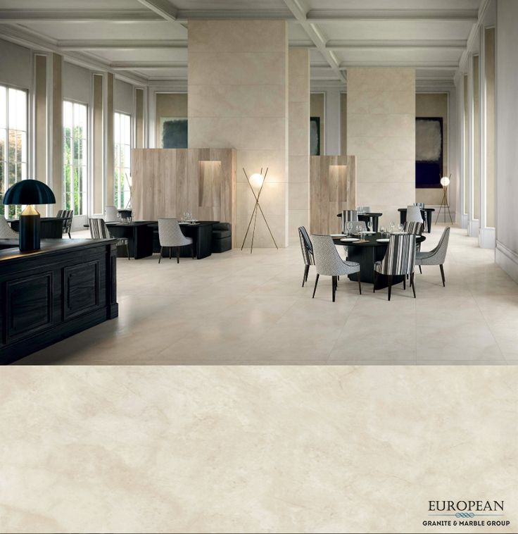 Our Florim luxury porcelain tiles make a great first impression - seen here in the design 'Marfil Honed' with warm caramel and beige tones.  Suitable for both floors and walls, its high stress restitance makes it great for high-traffic areas such as this restaurant dining area.  Find out more: http://www.egmcorp.com/florim/marfil-honed
