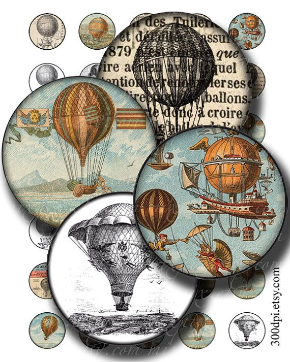 hot air balloons 1 inch round images Printable Download Digital Collage Sheet 1 inch circle steampunk diy jewelry pendant bottle cap sticker