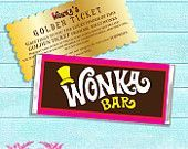 Willy Wonka - PRINTABLE CHOCOLATE Bar WRAPPERS & Golden Tickets - Cutie Putti Paperie