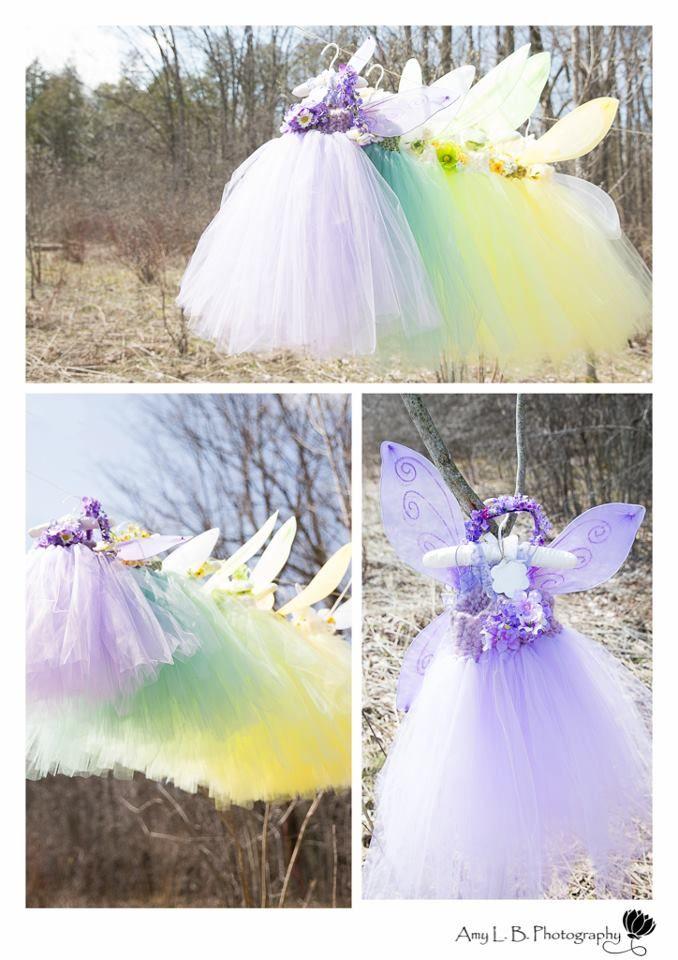 Festa das fadas: vestidos, saias e asas para a aniversariante e as convidadas.