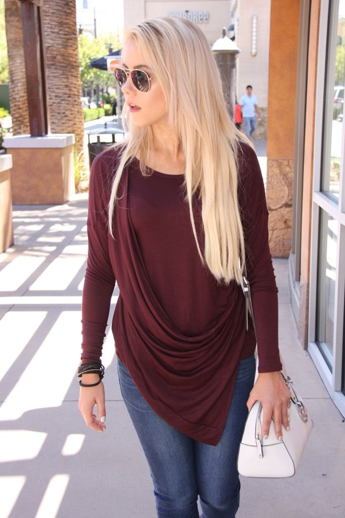 Maroon and draped, two of our favs for fall! $33 #ShopALB #ApricotLaneTS