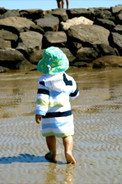 Bamboo Towelling Blue/Olive Stripe Swim Robe, sizes Newborn to 10yrs. With hood, full sleeves, kangaroo pocket and fully opening front zip.