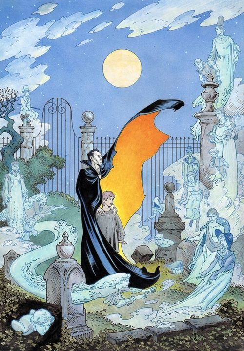Original art for the cover of The Graveyard Book, by P. Craig Russell