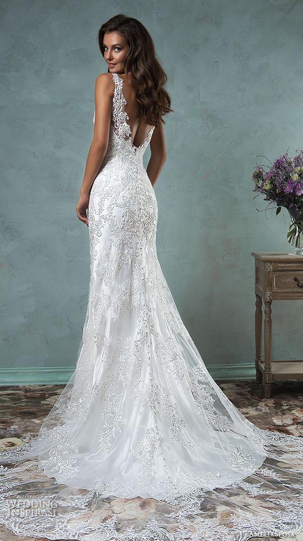 amelia sposa 2016 wedding dresses lace strap v neckline embroidery satin beautiful trumpet fit to flare mermaid wedding dress adelina back