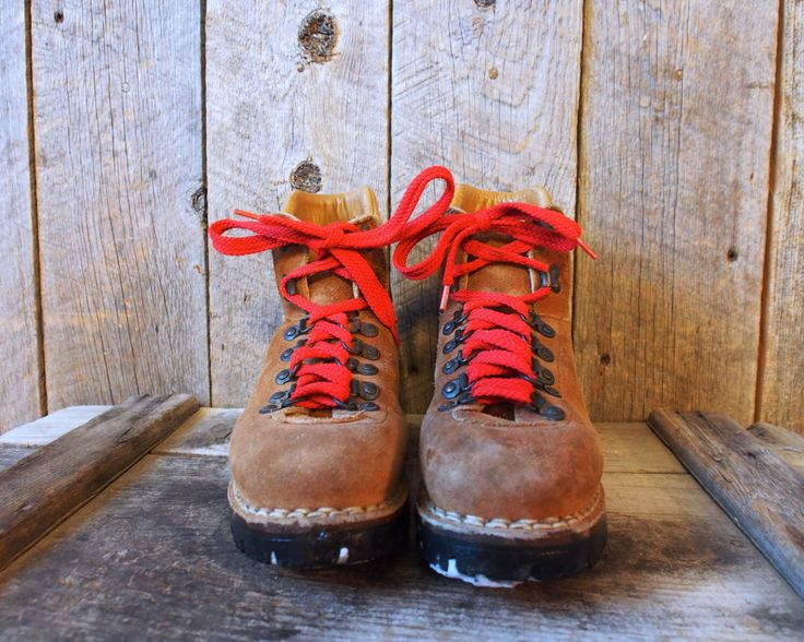 vintage red lace leather Vibram boots by WindyPeakVintage on Etsy https://www.etsy.com/listing/211103166/vintage-red-lace-leather-vibram-boots