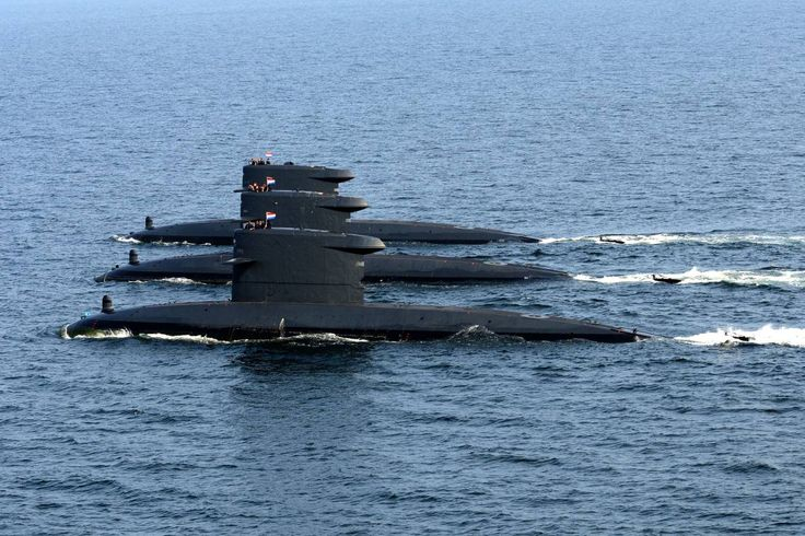 Three of the four Walrus class submarines meet at sea