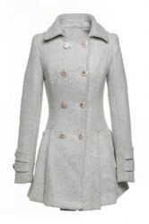 $35.48 Tailored Collar Long Sleeves Double-Breasted Worsted Fashionable Style Coat For Women