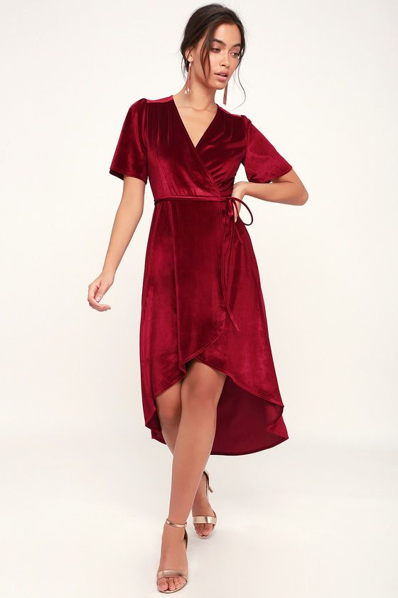 Love is in the air whenever the Lulus Amour Wine Red Velvet High-Low Wrap  Dress enters the room! Luxe stretch velvet drapes elegantly across a wrap  bodice ... 852bc7f36