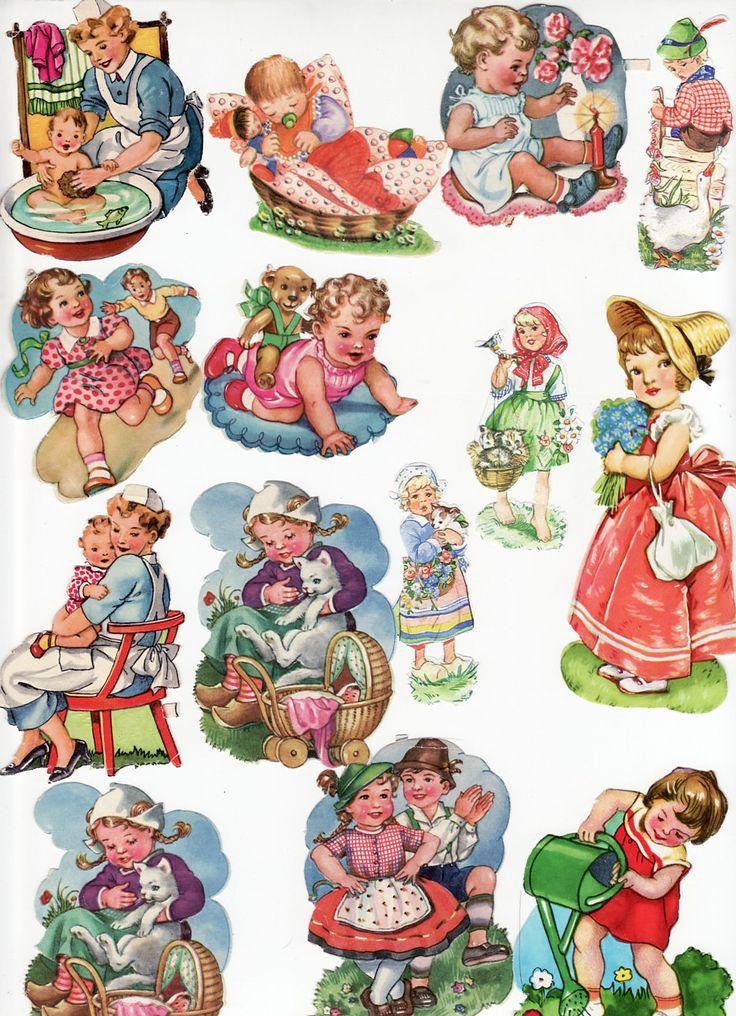 Vintage Die Cut Scrap Children Lot