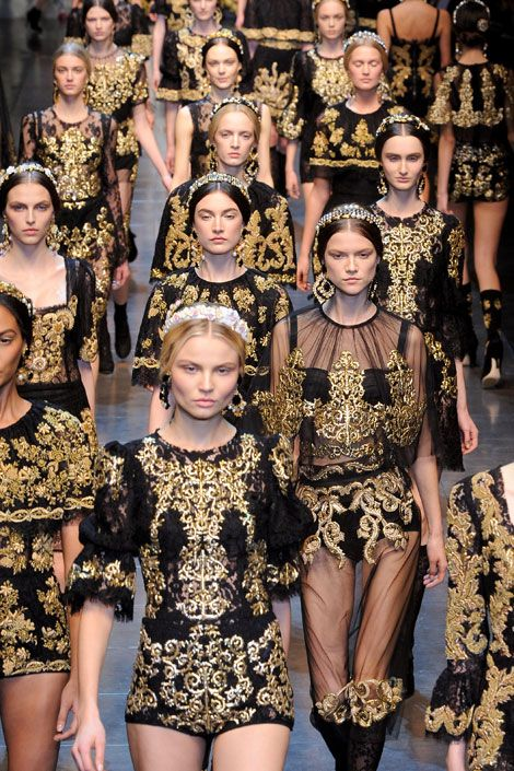 Marie Antoinette and all of King Louis XVI's Court would go baroque for the extravagant decadency of these looks from Dolce & Gabbana's F/W 2012 runway show! #IveGotYourStyle