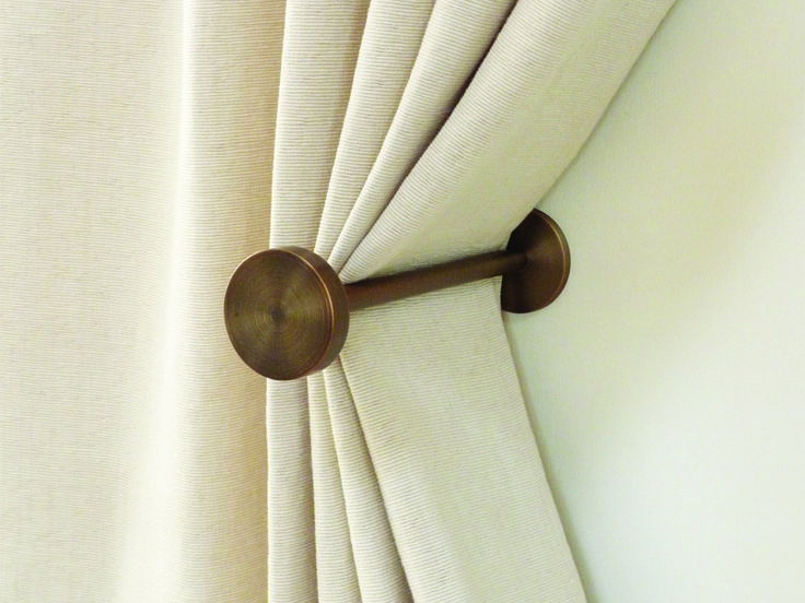 Brushed Bronze Curtain holdbacks - simple elegant design, high quality bronze finish. Sold individually by Walcot House.