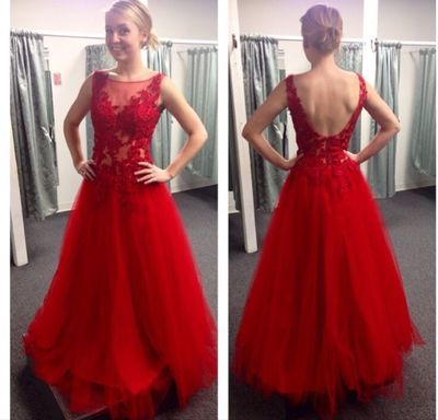 Red Tulle A Line V Back Prom Gown With Lace Appliques Bodice,PD160401