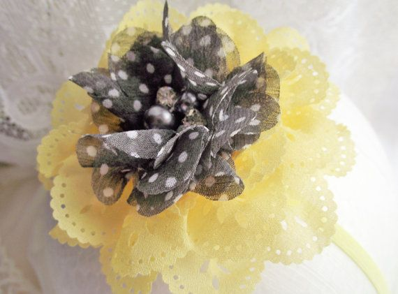 Yellow and Gray Baby HeadbandYELLOW and Gray by CedarCoveCreations