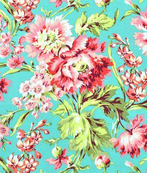 Amy Butler Bliss Bouquet Teal Fabric - $9.35 | onlinefabricstore.net