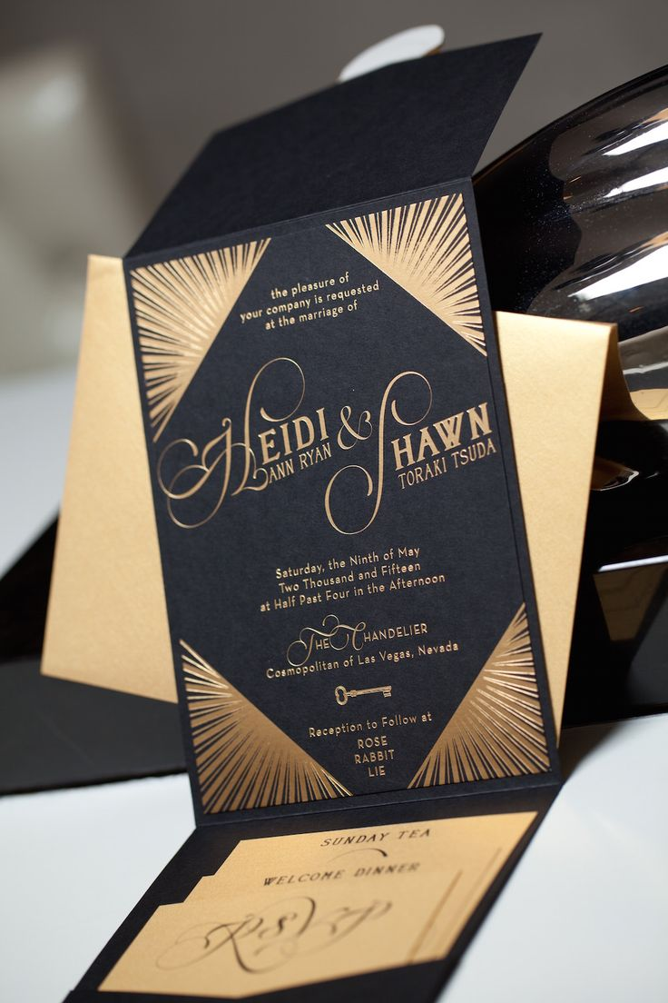 Art Deco Wedding Invitations: Heidi and Shawn | Gold Foil | http://www.paperandhome.com/art-deco-wedding-invitations-heidi-and-shawn/