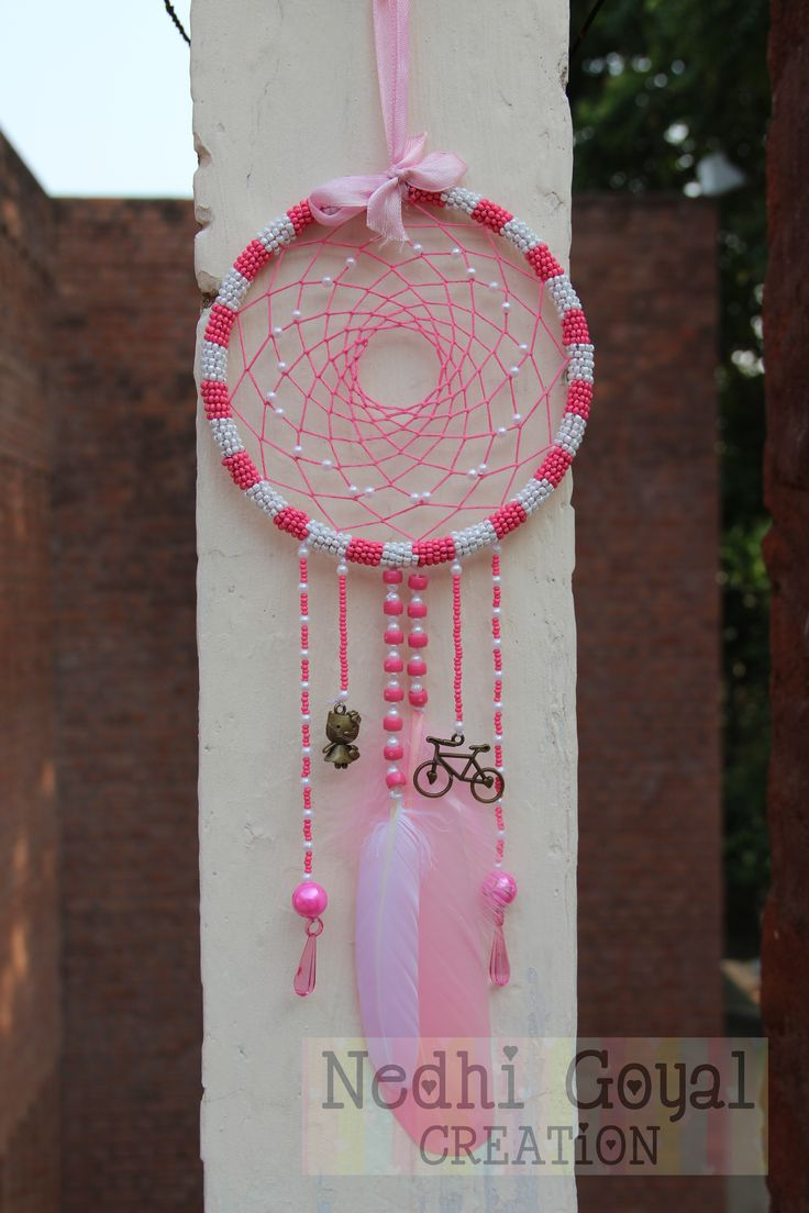 Beads Pink and White with KITTY LOVE CYCLE