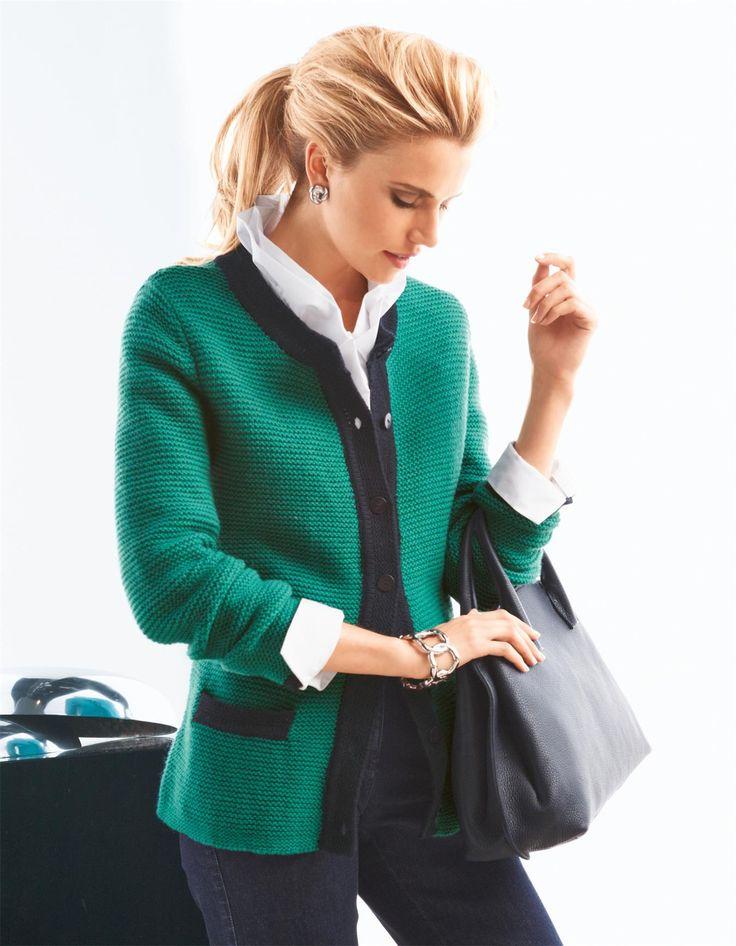 Tricot jasje - groen / marine - groen, blauw - in de online shop van Madeleine