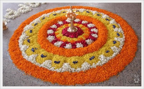 Flower rangoli with marigolds, blog.spring-blossoms