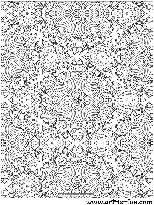 free abstract pattern coloring page detailed psychedelic art by