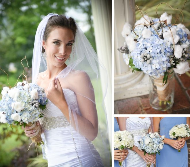 Hydrangeas, burlap + cotton bouquet | dani. fine photography | Borrowed & Bleu
