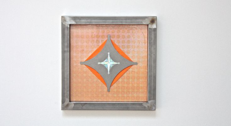 Cross (Hivemind),  steel. holographic paper, rubber, wood, graphite, 45x45x4 cm.