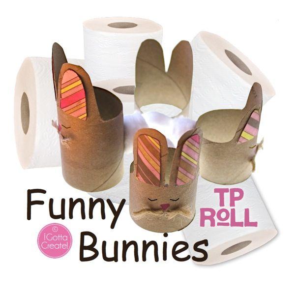 Funny Bunnies from TP cardboard tubes. So cute! Tutorial at I Gotta Create!