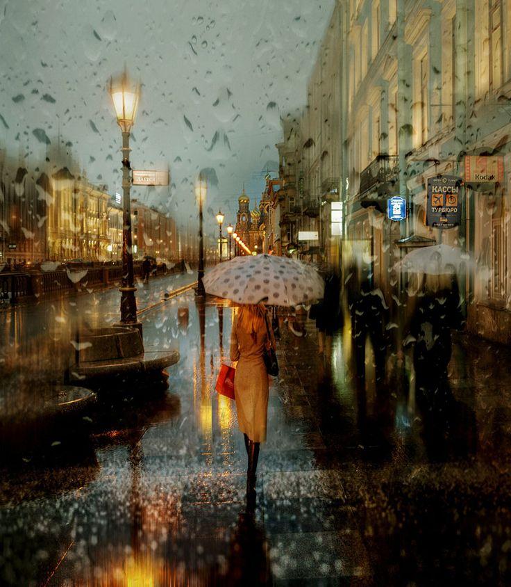 Prachtige foto's! 10 keer St. Petersburg in de regen. Het lijken wel olieverf schilderijen.