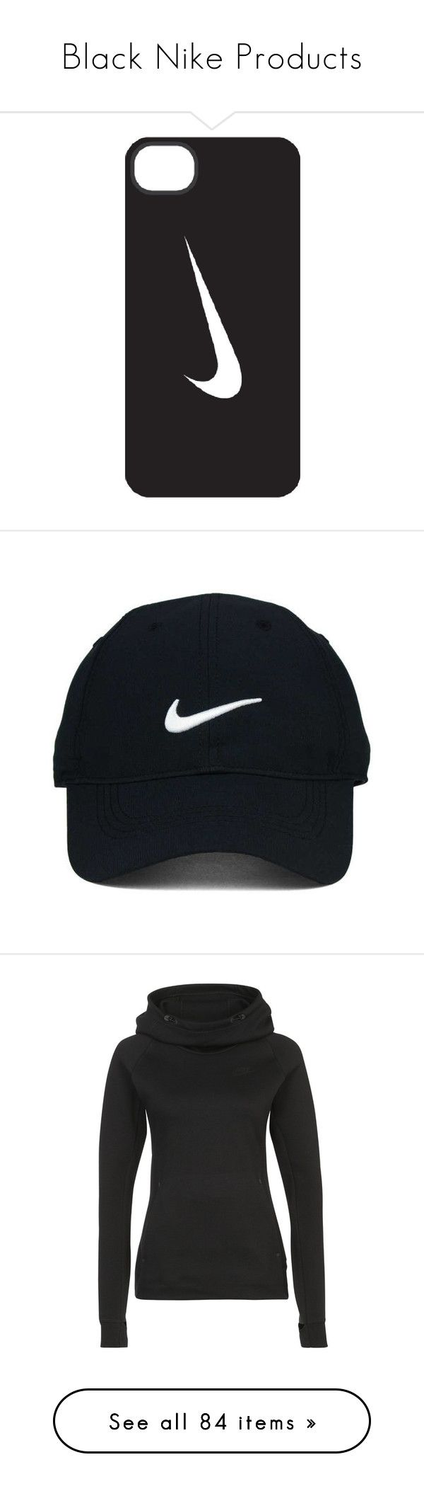 """Black Nike Products"" by madelyn2803 ❤ liked on Polyvore featuring accessories, tech accessories, phone cases, fillers, phones, cases, nike, hats, nike golf and caps hats"