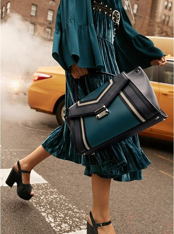 95b5be08a490 Whitney Large Tri-Color Leather Satchel #SALE IN GORGEOUS TEAL/Black Up to  70% off Now $189.00 The Whitney satchel combines sophistication and  versatility ...