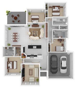 3D floor plans modern floor plan