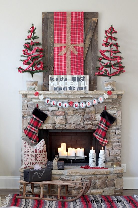 Plaid Christmas Mantel #plaid #christmas: