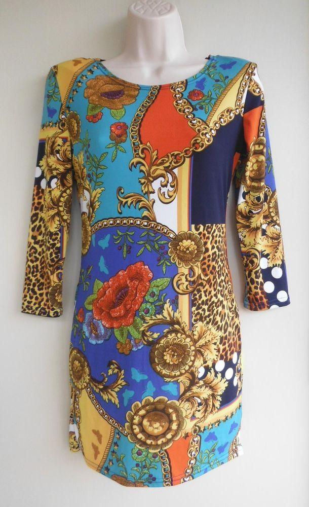 JOHN ZACK London Dress Mini Stretch Size UK 10 Mixed Pattern Multi-Color #JohnZackLondon
