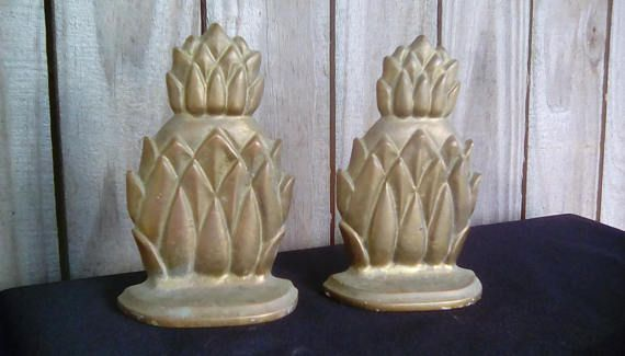 Brass pineapple bookends. Vintage brass pineapple bookends.