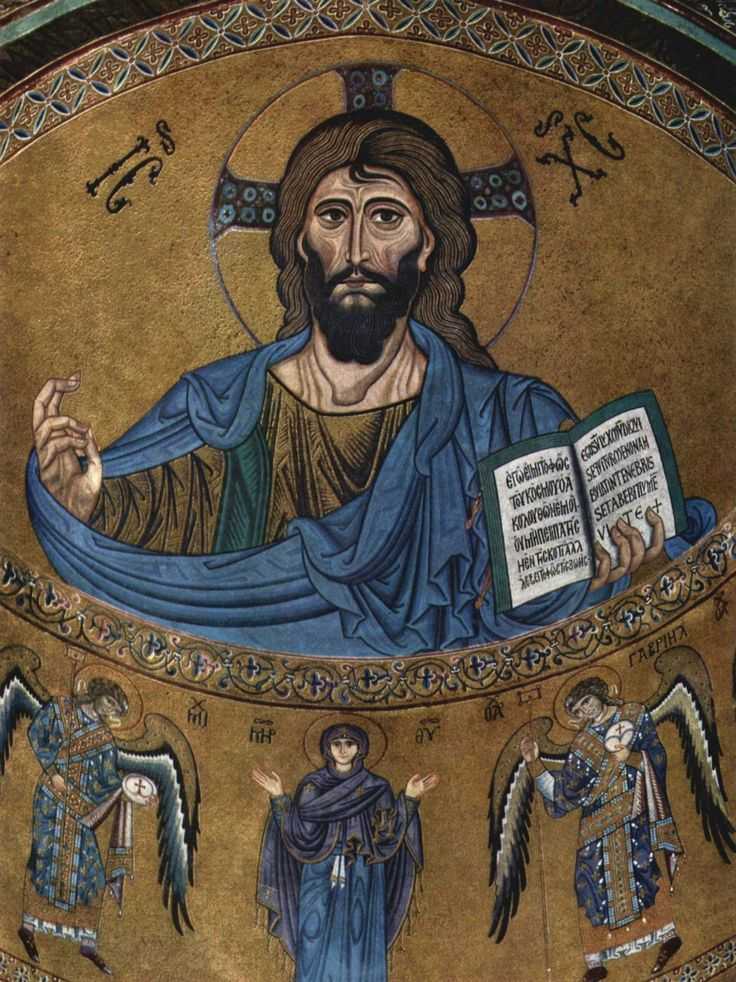"""Byzantine period. The Christ Pantocrator Mosaic from Cefalu Cathedral, Sicily, Italy. In his hand Christ holds the Gospel of John in which we can read in Greek and Latin: """"I am the light of the world, who follows me will not wander in the darkness but will have the light of light."""""""