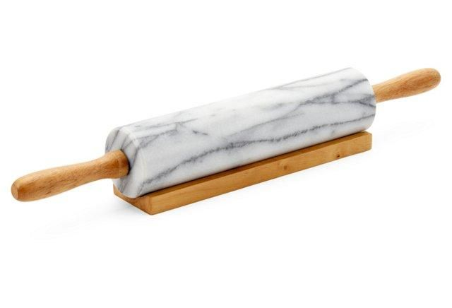 Marble Rolling Pin, White and Gray Vein -- Rendered in a stunning marble, the traditional rolling pin gets a glamorous update.