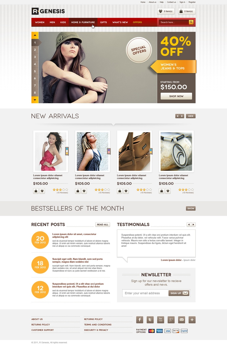 """Life Style Modern Online Store Design"" PSD theme is a best package for online store website. Modern presentation for selling your products. Using a 960 Grid System layout, the theme showcases anything."