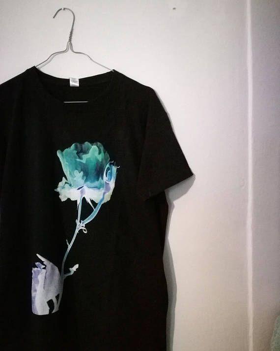 Black Tshirt with a distorted rose #tee #tshirt #graphic #t-shirt #fashion #streetstyle
