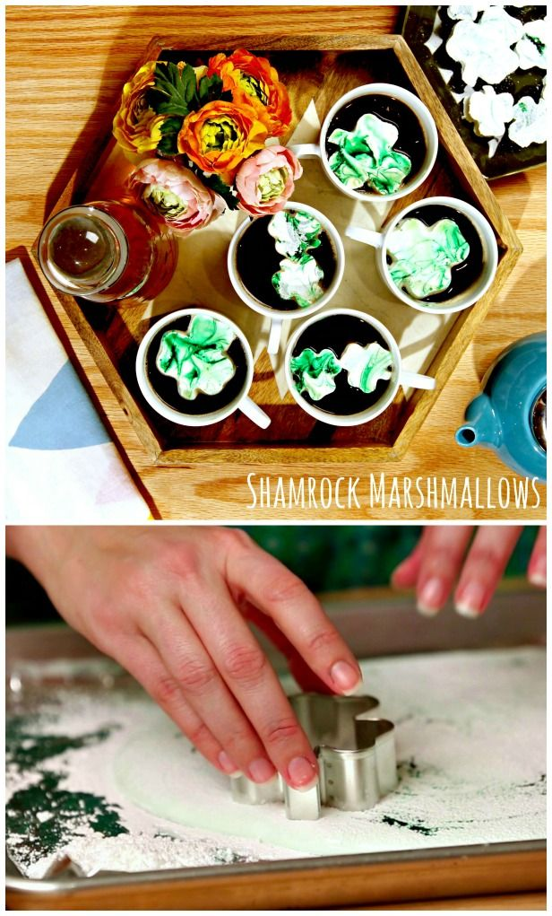 HGTV Crafternoon: Homemade Shamrock Marshmallows (http://blog.hgtv.com/design/2014/02/25/homemade-st-patricks-day-shamrock-marshmallows/?soc=pinterest): Recipe, Hot Chocolate, Design Blog